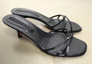 * PURA LOPEZ * Kitten Heel Sandaletten Leder schwarz Riemchen Gr 39