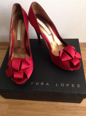 Pura Lopez red Satin Stiletos