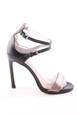 Pura Lopez Riemchen-Sandaletten schwarz-goldfarben Casual-Look