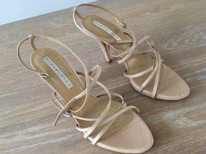 Pura Lopez Strapped Sandals nude-cream