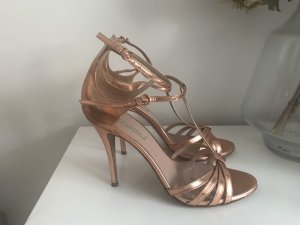 Pura Lopez Strapped High-Heeled Sandals rose-gold-coloured
