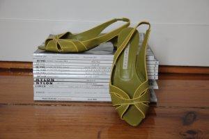 Pura Lopez Slingback-Pumps Gr. 37,5 50´s Style in Limette und Gelb Kittenheel