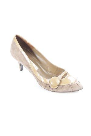 Pura Lopez Spitz-Pumps graubraun-beige Elegant
