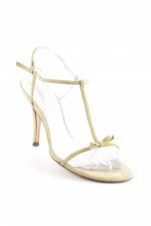 Pura Lopez T-Strap Sandals lime yellow elegant