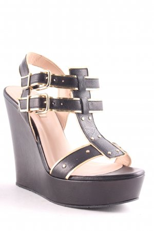Pura Lopez Wedges Sandaletten schwarz-goldfarben Party-Look