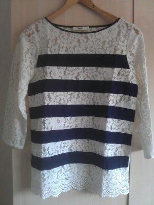 Oasis T-shirts en mailles tricotées crème-bleu coton