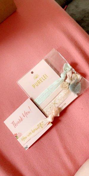 Braccialetto sottile rosa pallido-oro