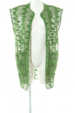 Purificacion Garcia Long Knitted Vest green loosely knitted pattern elegant
