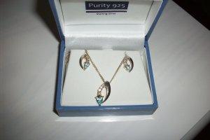 Purity 925 Silber mit Topas Steinen Kette und Ohrstecker Neu!