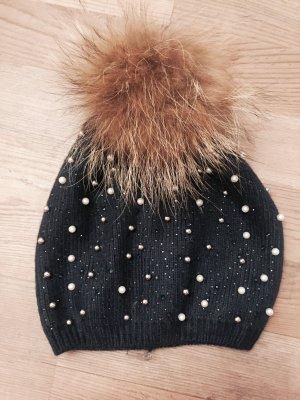 Puschelmütze mit Perlen und Strass dunkelblau Winter neu