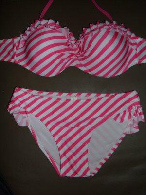 Push-up Bikini in weiß/pink Größe 34 ungetragen