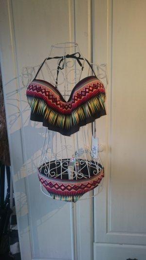 Push-Up Bikini mit Volants & Muster