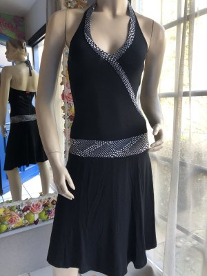 Pussy Deluxe Vestido de cuello Halter negro-blanco