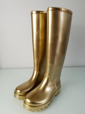 PVC Dolce Gabbana Luxus Gummistiefel in Gold