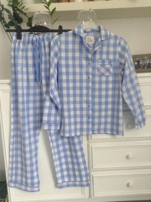 Pyjama / hellblau-weiß-kariert / Gr. 34 XS / NEU