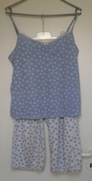 Pijama blanco-azul celeste Algodón