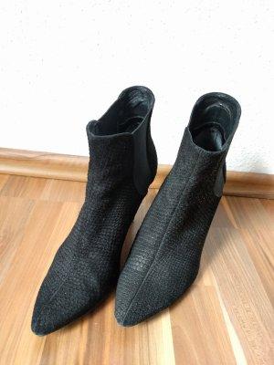 Python Schlangen Stiefeletten snake Leder schwarz 40 Ankle Boots