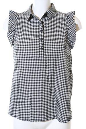 Q/S Kurzarm-Bluse schwarz-weiß Allover-Druck Business-Look