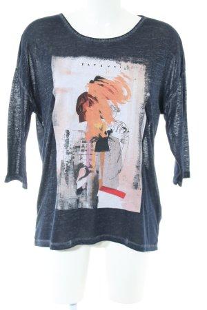 Q/S Print-Shirt blau abstraktes Muster Casual-Look