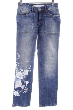 Q/S Stretch Jeans blau Blumenmuster