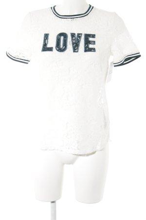 Q/S T-Shirt weiß-waldgrün Casual-Look