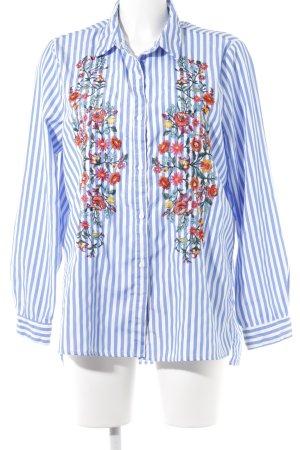 QED London Hemd-Bluse kornblumenblau-weiß Streifenmuster klassischer Stil