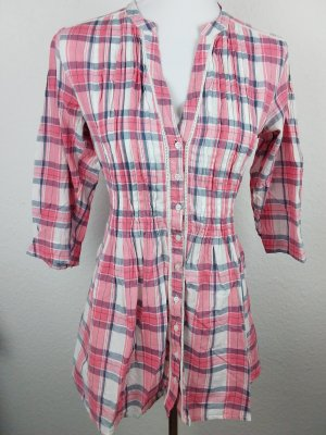 QED London Long Blouse pink-natural white cotton