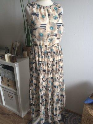 Qed London Maxikleid 36 S neu Floral Blumen Plissee plissiert Kleid mit Etikett