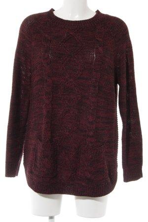 QED London Strickpullover schwarz-purpur meliert schlichter Stil