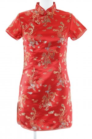 Qipao red-gold-colored graphic pattern Aztec print