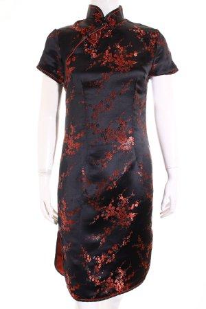 Qipao schwarz-rot florales Muster Schimmer-Optik