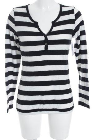 QS by s.Oliver Basic Top schwarz-weiß Streifenmuster klassischer Stil