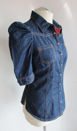QS by s Òliver Blau Jeans Bluse M 38 Rockabilly Druckknopf Rüschen Rot Puffärmel Tailliert Kurzarm Shirt