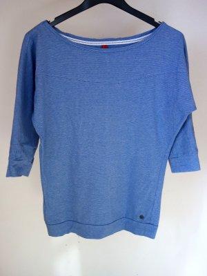 QS by S.OLIVER Blau-weiß geringelter Pullover mit 3/4 Ärmeln