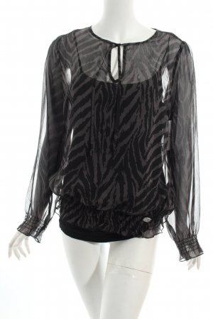 QS by s.Oliver Blusentop schwarz-grau Leomuster Casual-Look