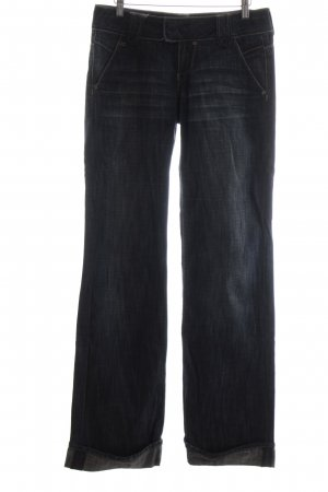 QS by s.Oliver Boot Cut Jeans dunkelblau-wollweiß Washed-Optik