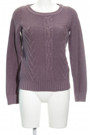 QS by s.Oliver Grobstrickpullover graulila Zopfmuster Casual-Look