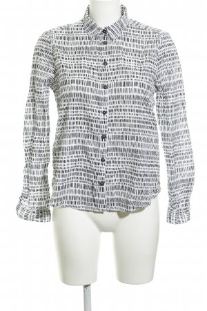 QS by s.Oliver Hemd-Bluse weiß-schwarz grafisches Muster Casual-Look