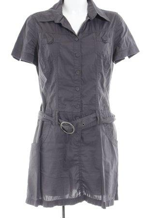 QS by s.Oliver Robe chemise gris anthracite lettrage brodé style décontracté
