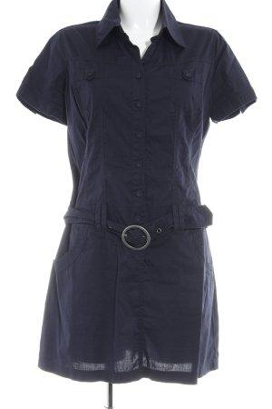 QS by s.Oliver Hemdblusenkleid dunkelblau Schriftzug gestickt Casual-Look