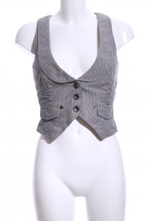 QS by s.Oliver Jeansweste weiß-hellgrau Streifenmuster Casual-Look