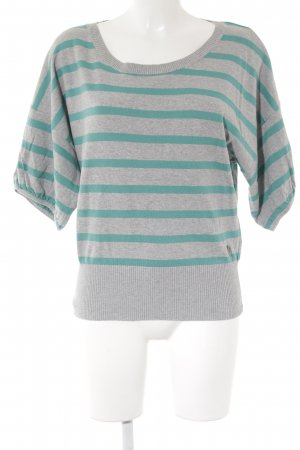 QS by s.Oliver Kurzarmpullover grau-türkis Streifenmuster Casual-Look