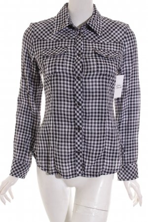 QS by s.Oliver Shirt met lange mouwen zwart-wit geruite print casual uitstraling