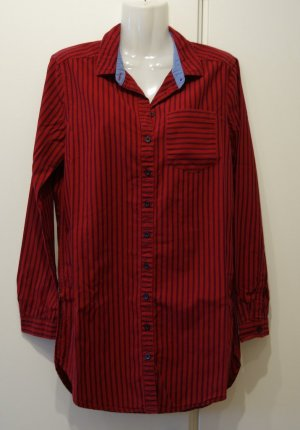 QS by S.Oliver Longbluse Hemdbluse Gr. S (36) rot Nadelstreifen Casual Clean Chic