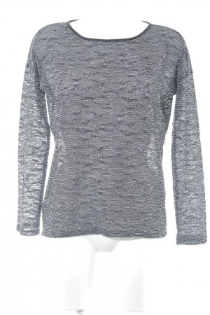 QS by s.Oliver Kraagloze sweater zwart-wit Webpatroon casual uitstraling