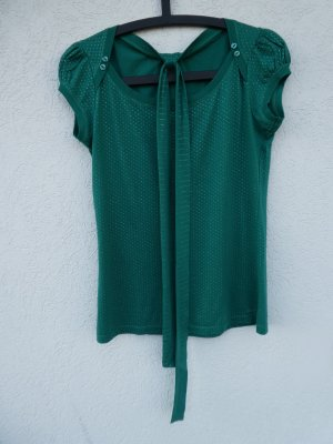 QS by s.Oliver  – Shirt, dunkelgrün mit silbernen Punkten – Gebraucht, wie neu