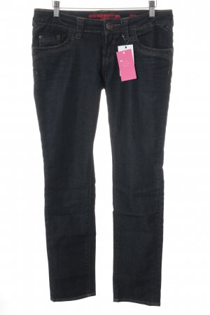 QS by s.Oliver Slim Jeans schwarz-dunkelblau Webmuster Casual-Look