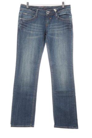 QS by s.Oliver Straight-Leg Jeans blau Logo-Applikation aus Metall