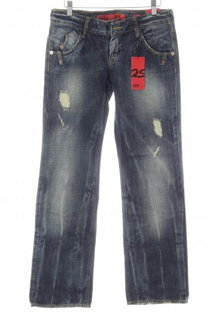 QS by s.Oliver Straight-Leg Jeans dunkelblau Destroy-Optik