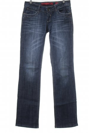 QS by s.Oliver Straight-Leg Jeans dunkelblau-wollweiß Washed-Optik
